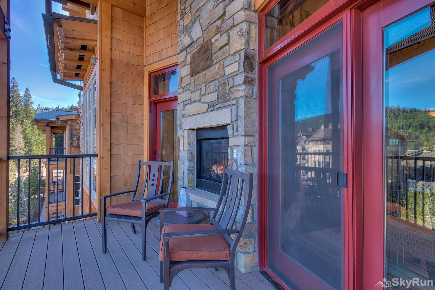 Sierra Range Northstar Lodge Luxury Condo Covered Balcony with Fireplace